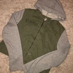 Bongo olive green & gray semi-cropped jacket